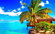 Dreamy tropical retreat landscape desktop wallpaper