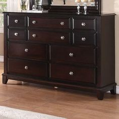 Alcott Hill Holzman 10 Drawer Double Dresser Color: Cappuccino