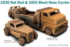 Build the 1930 Rat Rod and 1955 Blunt Nose Carrier Full-Size Wood Toy Plan Set