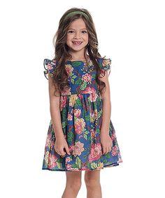 Blue & Pink Floral Maddie Dress - Kids & Tween #zulily #zulilyfinds