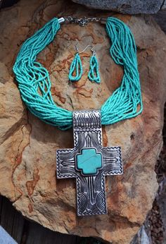 Cowgirl Bling Gypsy Southwestern Silver CROSS TURQUOISE necklace set  #Unbranded