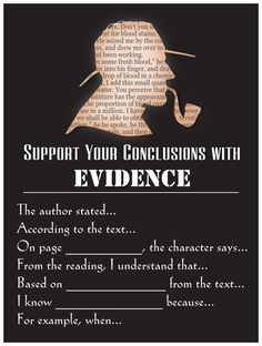 "Teach students how to show textual evidence through this poster. I teach a unit called ""The Sherlock Holmes Method of Writing"" which focuses on inf. Teaching Language Arts, Teaching Writing, Teaching English, Teaching Resources, Classroom Resources, Essay Writing, Classroom Ideas, Writing Assessment, Writing Advice"