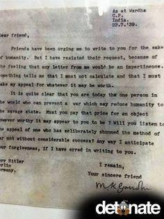 Letter from Gandhi sent to Adolf Hitler in 1939.