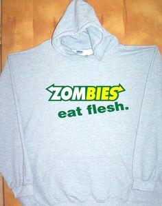 Zombies Eat Flesh Grey Hoodie Sz SM 5XL Prepare for The Apocalypse Warm | eBay