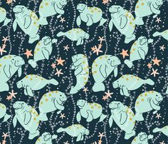 Oh, the Hue-Manatee fabric by spottedpepperdesigns on Spoonflower - custom fabric