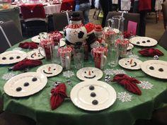 Cute kids table Idea.  Christmas/ winter decor ideas. Table setting. Christmas Dinner