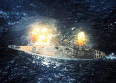 Battleship USS Missouri fires her 16-inch guns