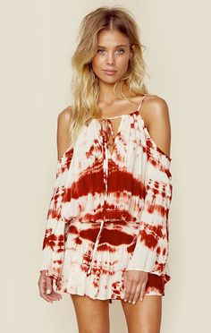 SHIRRED WAIST OPEN SHOULDER DRESS | @ShopPlanetBlue