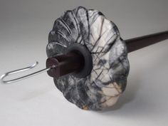 Carved FLOWER PICASSO Jasper Drop Spindle with Rosewood shaft. $30.00, via Etsy.