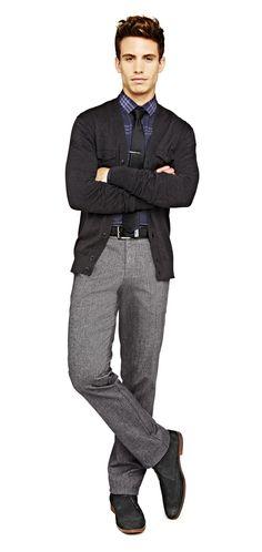 fresh take on business casual — jf j. ferrar thin striped tie, dress shirt, cardigan and pants Business Professional Outfits, Business Casual Men, Business Attire, Fall Fashion Trends, Autumn Fashion, Fashion Ideas, Dad Outfit, Outfit Ideas, Plus Size Mens Clothing