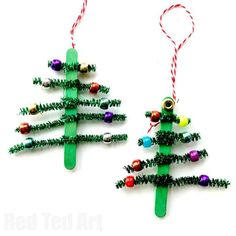 Cute and easy Pipecleaner Christmas Tree Ornaments. These Tree Ornaments are perfect for Preschoolers, School Fairs and develope fine motor skills