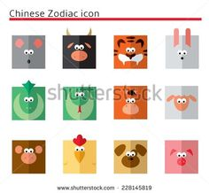 Chinese Zodiac flat icon set in squares - stock vector
