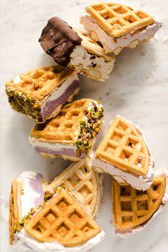 Belgian Waffle Ice Cream Sandwiches — Styling My Everyday Ice Cream Desserts, Frozen Desserts, Frozen Treats, Delicious Desserts, Dessert Recipes, Yummy Food, Waffle Ice Cream Sandwich, Waffle Maker Recipes, Bubble Waffle