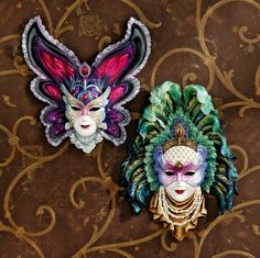Maidens of Mardi Gras Wall Mask Sculptures: Butterfly Maiden & Peacock Princess