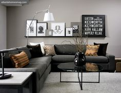 Modern Black And Grey Living Room. Love The Dark Grey Couch With Lighter  Grey Wall