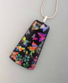 Glass Butterfly Necklace Dichroic Jewelry  Fused Glass by GlassCat