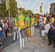 Carnival and parade band for hire. Our Samba band is ideal for Rio and carnival themed events.