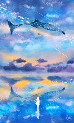 The ocean sky. by sugarmints anime scenery, fantasy landscape, fantasy art, ocean Fantasy Landscape, Fantasy Art, Landscape Art, Between Two Worlds, Pretty Backgrounds, Ocean Art, Anime Scenery, Pics Art, Cool Artwork