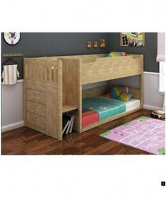 84b9f5893a20 River Single Size Bunk Bed - Oak Finish,Easy climb up stairs with drawer  storage Bottom single bed can be converted to a double bed Space saving  design ...
