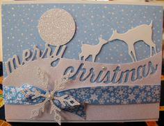 MB Mama and Baby Deer. Banbury Snowflake. Curved Merry Christmas