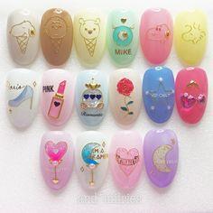 Art Deco Nails, 3d Nails, Acrylic Nails, Cute Nail Art, Cute Nails, Pretty Nails, Funky Nail Designs, Nail Art Designs, Japan Nail