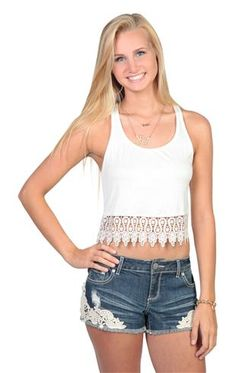 Deb Shops deep armhole crop tank top with crochet trim bottom $13.90