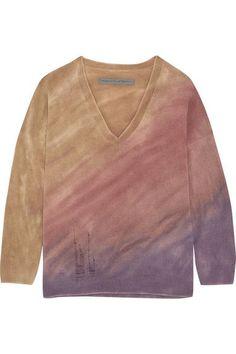 dfd6a7e1425f5d Raquel Allegra - Boyfriends Distressed Tie-dyed Merino Wool And  Cashmere-blend Sweater -