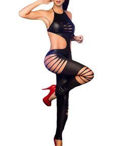 Her Daring Black Halter Neck Laser Shred Exotic Jumpsuit