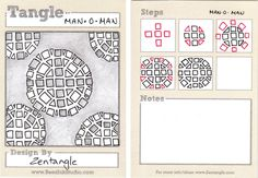 man-o-man tangle, tangle by Maria Thomas, Zentangle Originator, illustrated by Sandy Barthlomew Stein