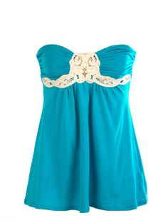 Gorgeous...fave color too ! -Lace Applique Tube Top - Fashion Tops - Tops~~love this top!!