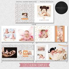 12x12 PSD (30 pages), Album Template, Newborn, baby shower, unisex, 15 spread and a cover, layflat - AL19(1)