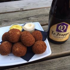 Portion of Dutch bitterballen made with La Trappe Quadrupel, and an Oak Aged Batch 17 La Trappe Quadrupel to wash them down. The pains of visiting the brewery. Little Bites, Beer Brewery, I Love Food, Starters, Finger Foods, Beverage, Netherlands, Holland, Travel Inspiration