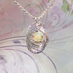 Precious Natural Ethiopian Opal Womans Pendant Necklace Wire Wrapped Jewelry Handmade in Silver with FREE SHIPPING by EarthArtsNW on Etsy $189