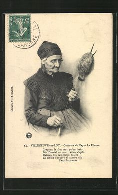 CPA Villeneuve-sur-Lot, La Fileuse 1917 Spin Me Right Round, Vintage Photos Women, Spinning Yarn, Working People, Vintage Cards, Handicraft, Old Photos, Art History, Needlework