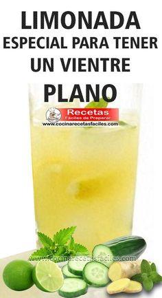 Receta de limonada especial para vientre plano. Los beneficios de tomar agua son muchos, y uno de ellos es la manera en que limpia tu sistema facilitando la digestión y ayudando a limpiar las cosas malas que tenemos en el cuerpo. Esta limonada especial que ayuda a desintoxicar naturalmente tu cuerpo y a mantener un vientre plano, ya que limpia todas las impurezas de tu sistema, además su mayor componente es el agua, así te ayudas a llegar a la meta de 2 litros diarios.