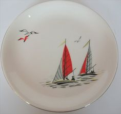£14 Delivered Pineapple Ice Bucket Retro - Alfred Meakin Red Sails Tea Plate Vintage Crockery, Vintage China, Vintage Ceramic, Alfred Meakin, Engraved Plates, China Painting, Plates And Bowls, Retro Home, Hand Painted Ceramics