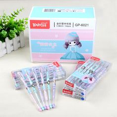 1.16$ (Buy here: http://alipromo.com/redirect/product/olggsvsyvirrjo72hvdqvl2ak2td7iz7/32789871592/en ) 3 pcs Gel Pens Cute Girl kawaii gift Blue Ink gel-ink pens for writing Cute stationery office school supplies 0.38mm for just 1.16$