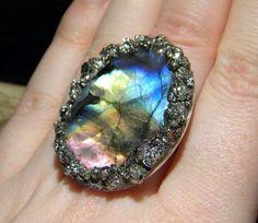 Labradorite and Pyrite Ring, Crushed Pyrite, Sterling Silver, aurora borealis, Gold, Fools Gold, Gypsy boho, Metaphysical, Gemstone