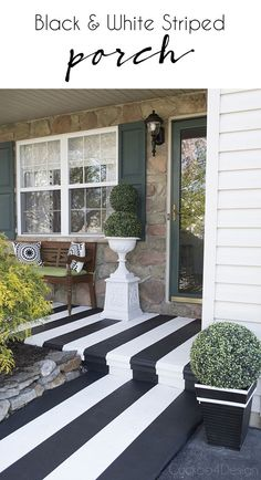 porch paint ideas Today I want to share my concrete front porch makeover with you. Painting crisp black and white stripes on a concrete floor can be a little tricky but with my tips a Concrete Front Porch, Concrete Patio, Concrete Floors, Front Porch Makeover, White Porch, Porch Paint, Porch Flooring, Building A Porch, Building Plans