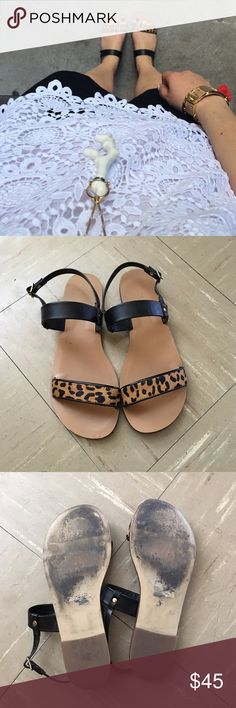 J. Crew Factory Leopard Sandals Very good condition. Wear on the soles & slight imprint on foot bed. J. Crew Factory Shoes Sandals