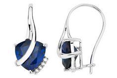 3/4 Carat Created Sapphire & Diamond 10K White Gold Earrings - ECP_102258