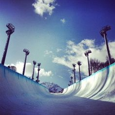 The future Olympic halfpipe for the 2014 Winter Olympics - photo courtesy of Kelly Clark, snowboarder and X Games champ. Winter Olympic Games, Winter Olympics, Snowboarding, Skiing, Rip It Up, X Games, Skate Surf, Cn Tower, Wind Turbine