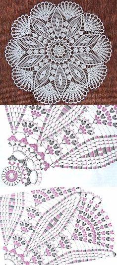 32 Ideas crochet lace motif charts ganchillo for 2019 Thread Crochet, Crochet Yarn, Easy Crochet, Crochet Stitches, Crochet Doily Diagram, Crochet Mandala Pattern, Crochet Tablecloth Pattern, Crochet Doily Rug, Knitting Patterns