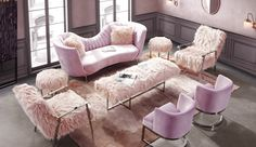 Floss Range – Please enquire. French Provincial, Drawing Room, Pink Flamingos, European Fashion, Shag Rug, Sofas, Love Seat, Home And Garden, House Design
