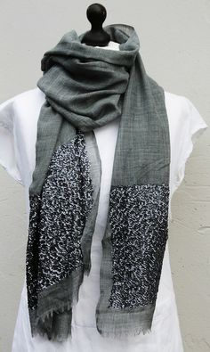 Fine Luxe Wool Grey Scarf with Sparkle