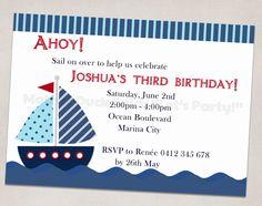 Sailboat Nautical Birthday Party Invitation Printable