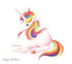 little Unicorn with rainbowmane by Finya-Vardeen