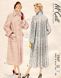 McCall 7557 1940s Coat Pattern Tailored Front by FloradoraPresents