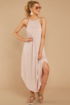 1163e22d69 Casual Beige Halter Maxi - Flowy Sleeveless Maxi Dress - Dress -  36 – Red  Dress