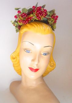 Glass Berry Cluster Whimsy Hat circa 1960s by Nina Neal - Dorothea's Closet Vintage